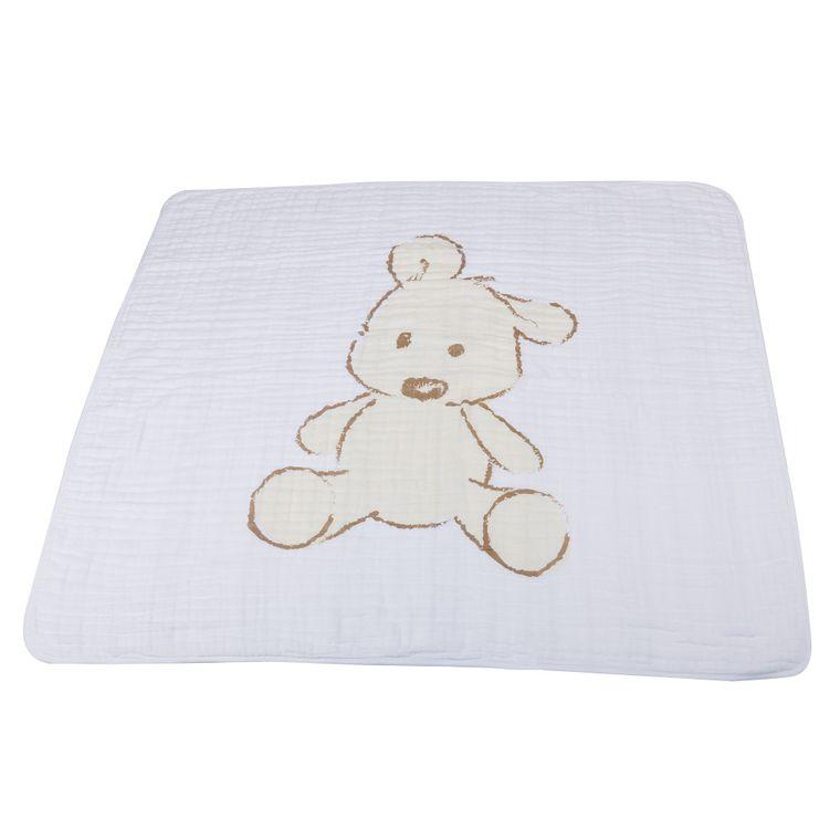 Teddy Bear and Grey Stripe Newcastle Blanket