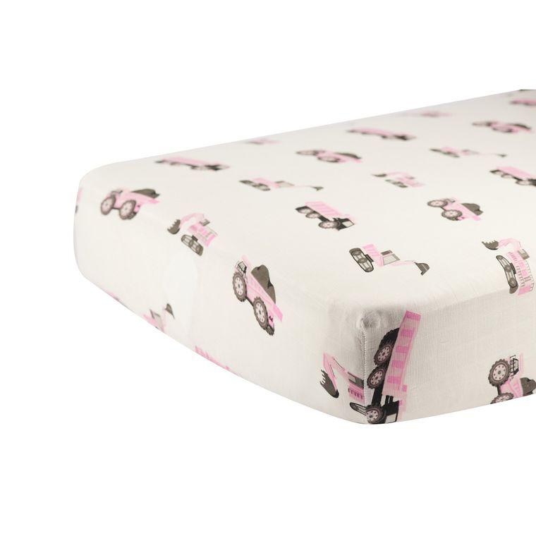 Pink Digger Crib Sheet