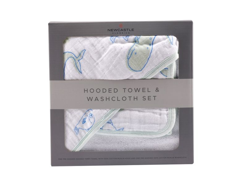 Ocean Hooded Towel and Washcloth Set