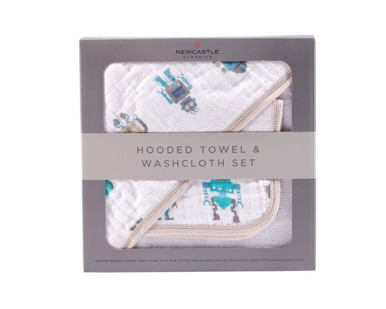 Robot Hooded Towel and Washcloth Set