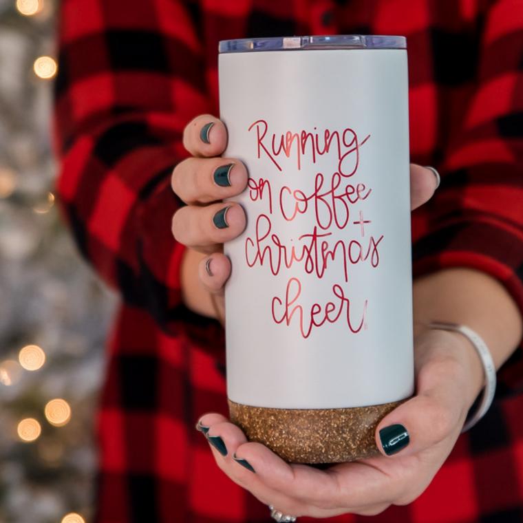 RUNNING ON COFFEE AND CHRISTMAS CHEER | TRAVEL MUG