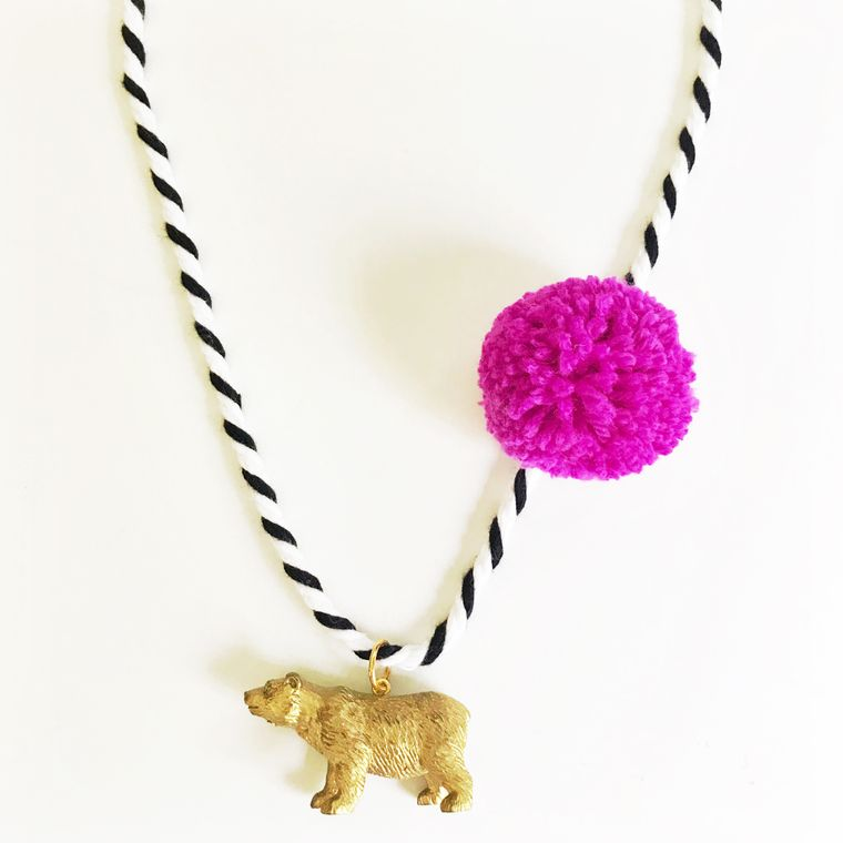 Bear Pompom Necklace in Berry