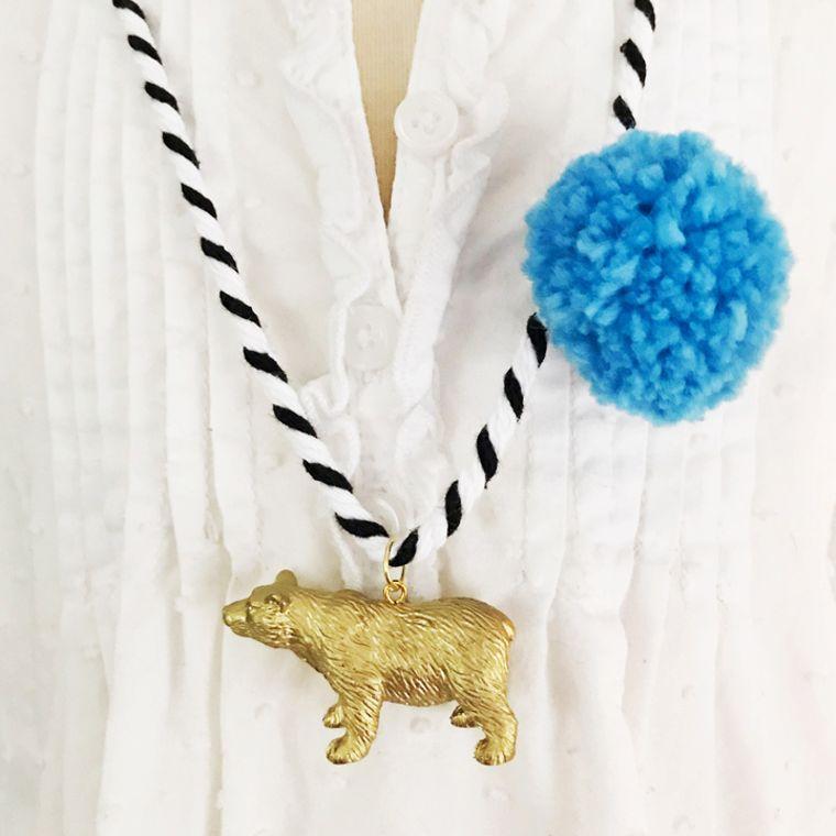 Bear Pompom Necklace in Blue