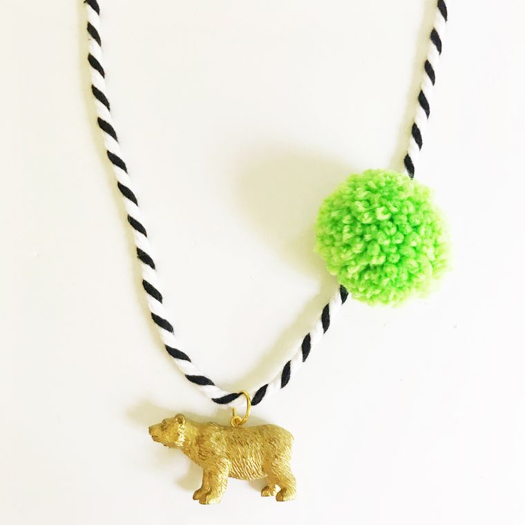 Bear Pompom Necklace in Lime