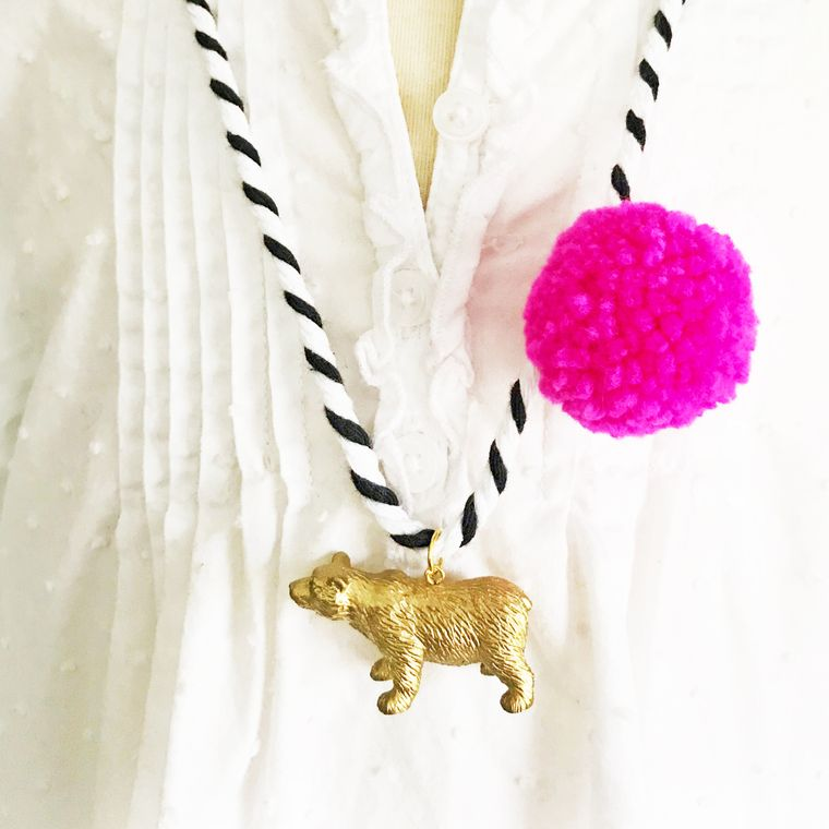 Bear Pompom Necklace in Pink