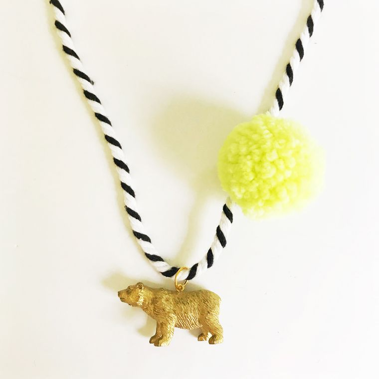 Bear Pompom Necklace in Yellow