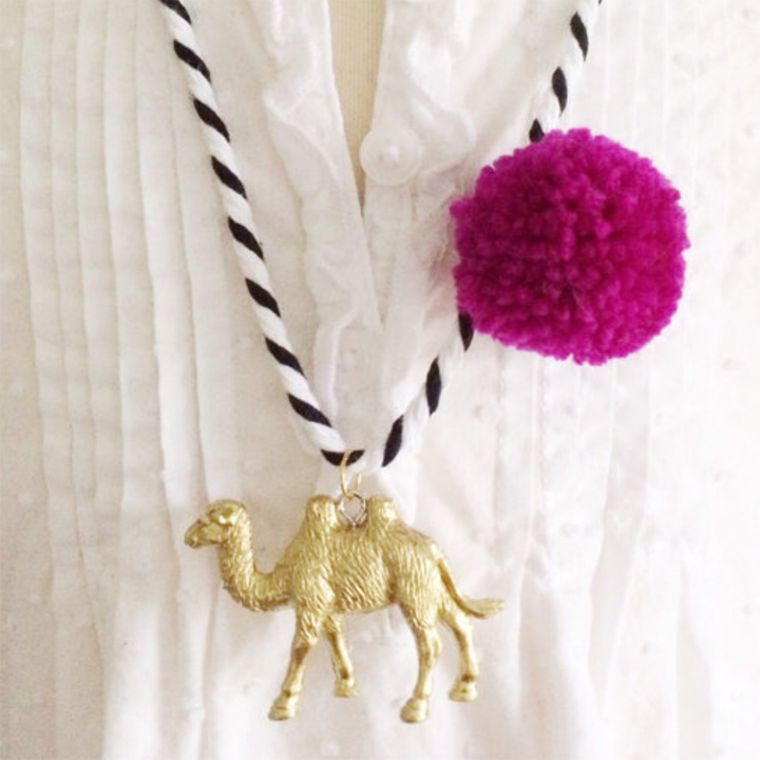 Camel Pompom Necklace in Berry