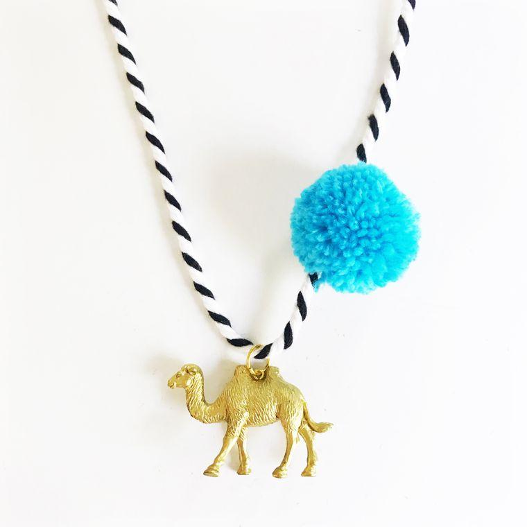 Camel Pompom Necklace in Blue