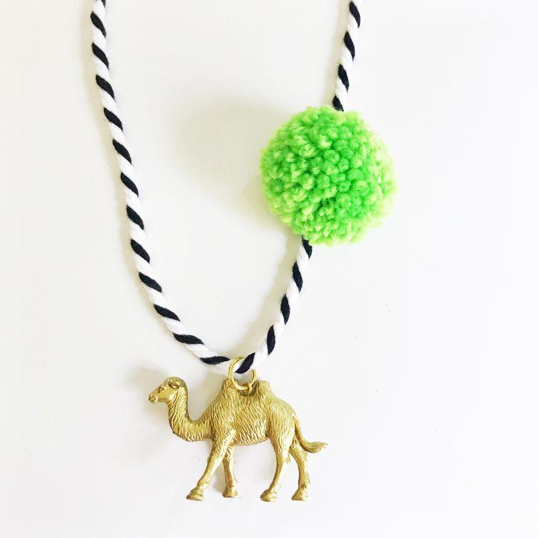 Camel Pompom Necklace in Lime