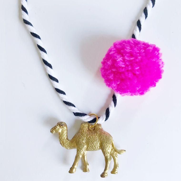 Camel Pompom Necklace in Pink