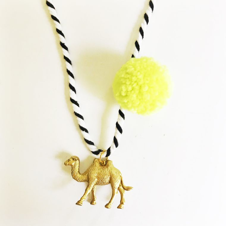 Camel Pompom Necklace in Yellow