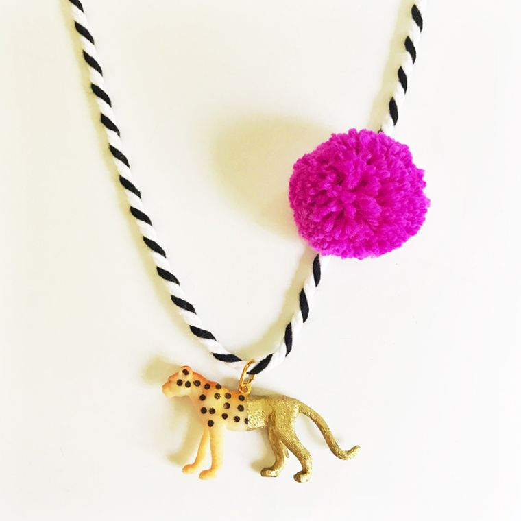 Cheetah Pompom Necklace in Berry