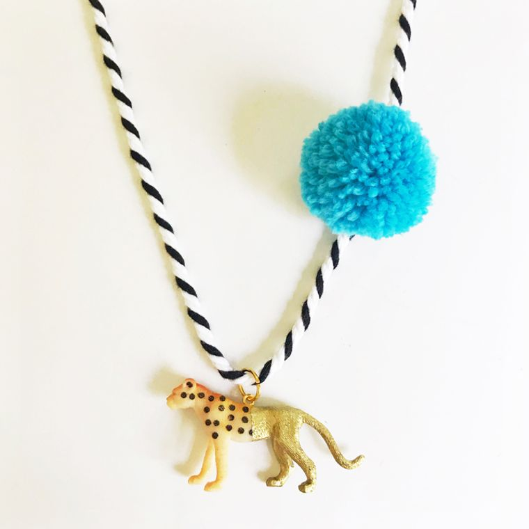Cheetah Pompom Necklace in Blue