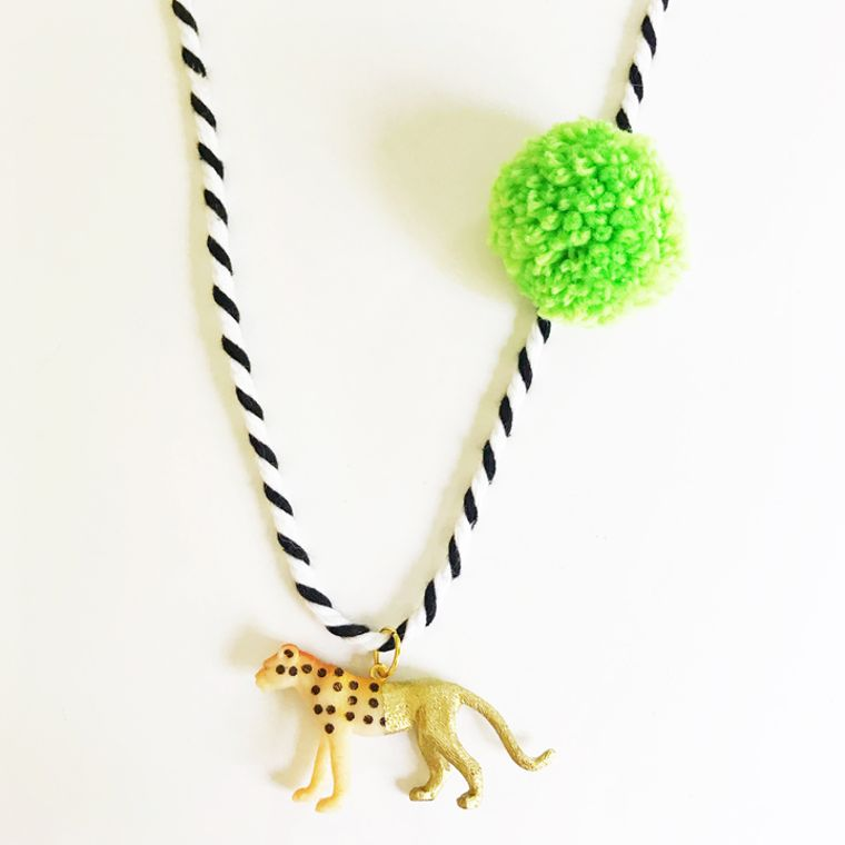 Cheetah Pompom Necklace in Lime
