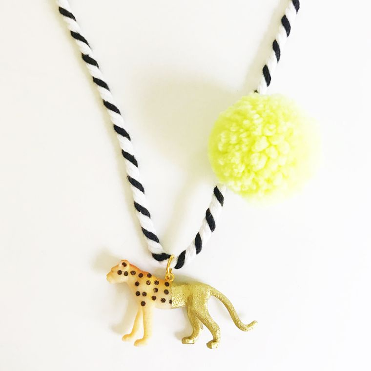 Cheetah Pompom Necklace in Yellow