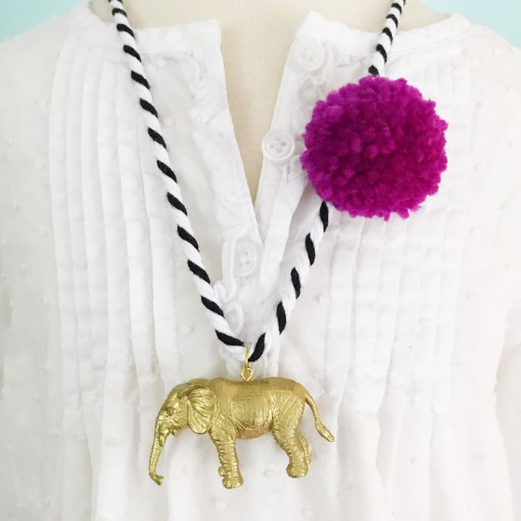 Elephant Pompom Necklace in Berry