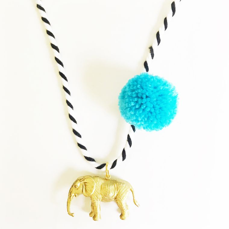 Elephant Pompom Necklace in Blue