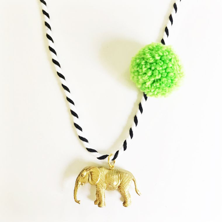 Elephant Pompom Necklace in Lime