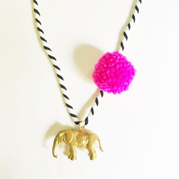 Elephant Pompom Necklace in Pink