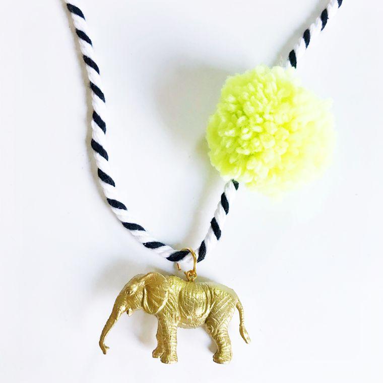 Elephant Pompom Necklace in Yellow
