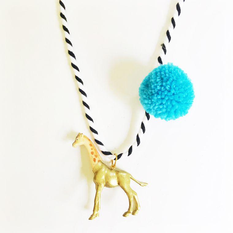 Giraffe Pompom Necklace in Blue