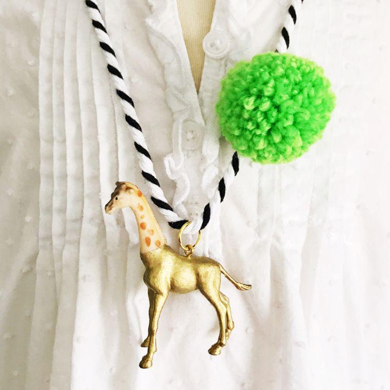 Giraffe Pompom Necklace in Lime