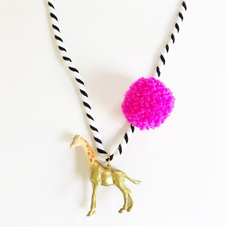 Giraffe Pompom Necklace in Pink