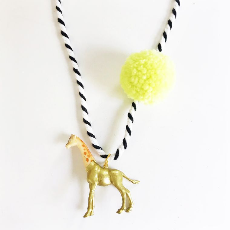 Giraffe Pompom Necklace in Yellow