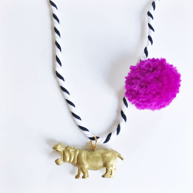 Hippo Pompom Necklace in Berry