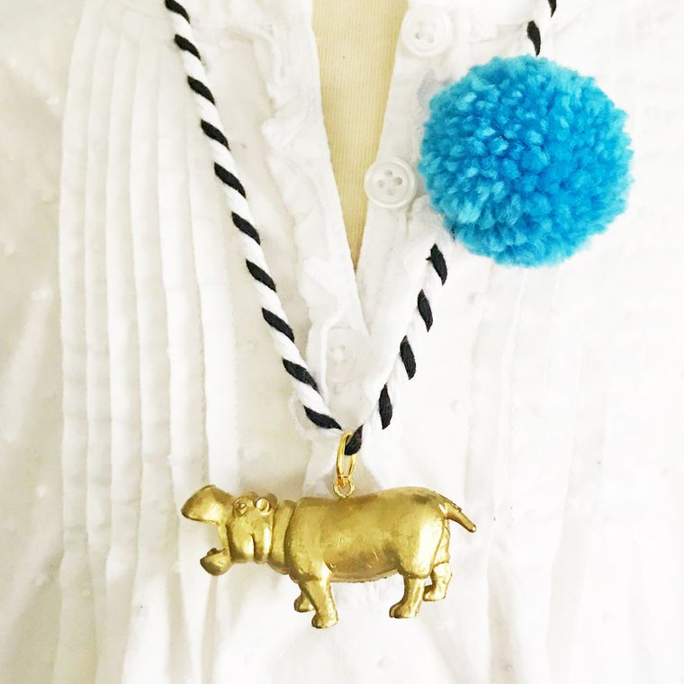 Hippo Pompom Necklace in Blue