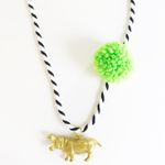 Hippo Pompom Necklace in Lime