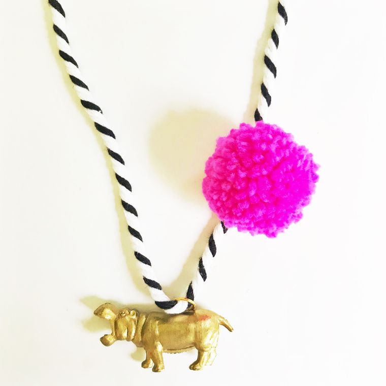 Hippo Pompom Necklace in Pink