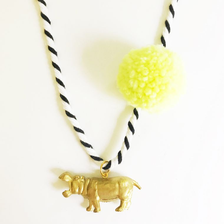 Hippo Pompom Necklace in Yellow