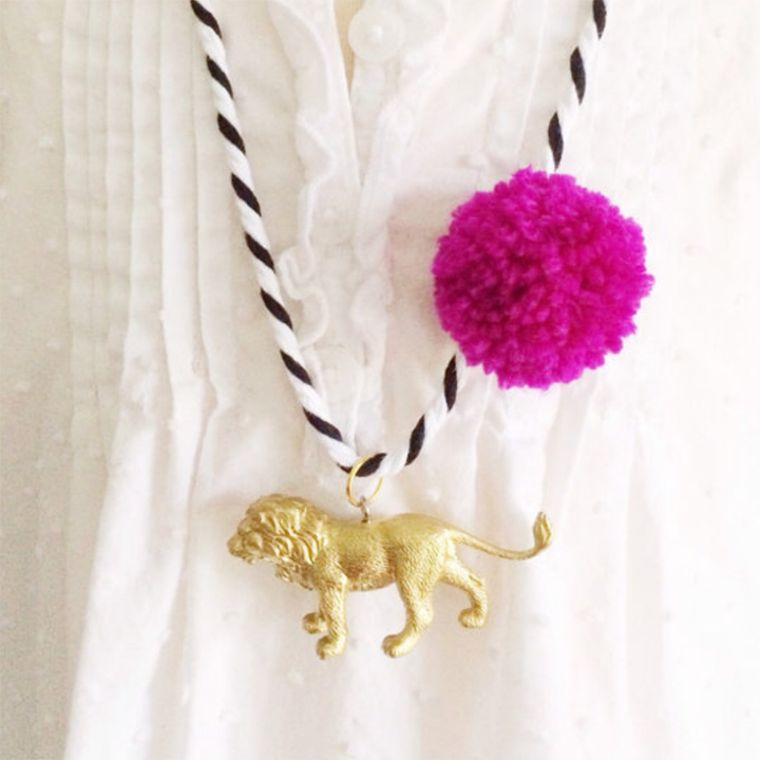 Lion Pompom Necklace in Berry