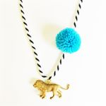 Lion Pompom Necklace in Blue