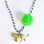 Lion Pompom Necklace in Lime