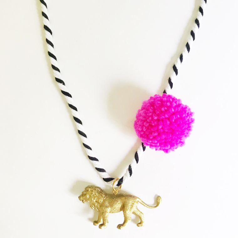 Lion Pompom Necklace in Pink