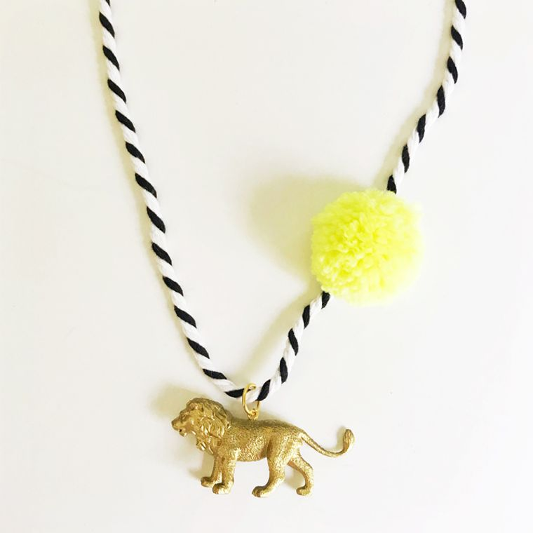 Lion Pompom Necklace in Yellow