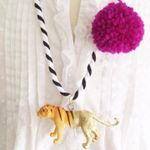 Tiger Pompom Necklace in Berry