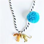 Tiger Pompom Necklace in Blue
