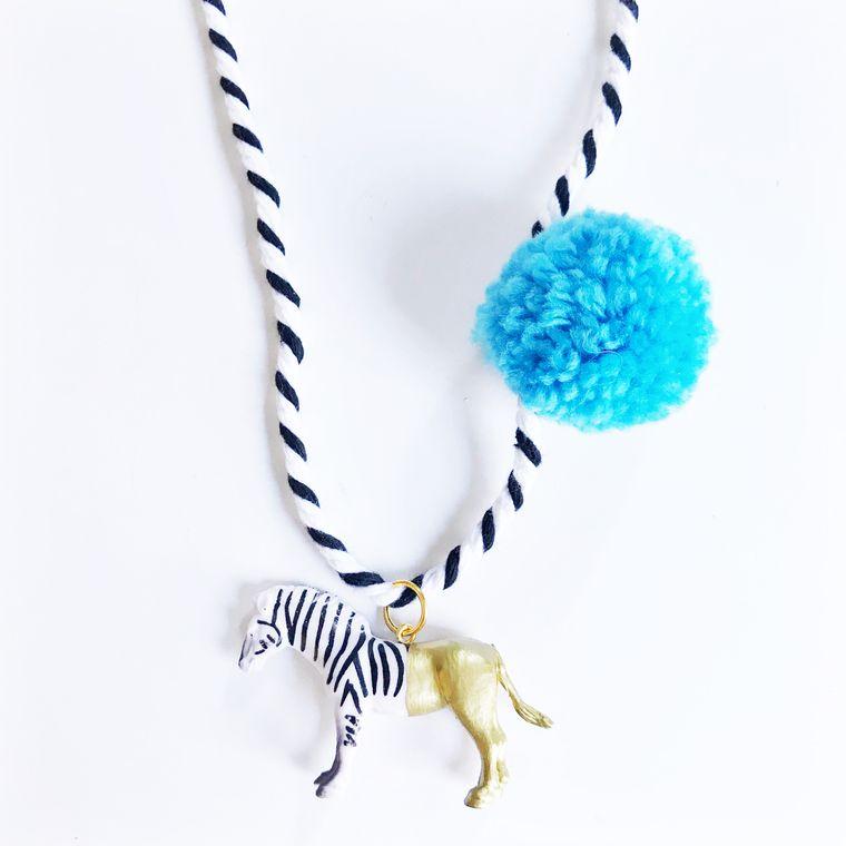 Zebra Pompom Necklace in Blue