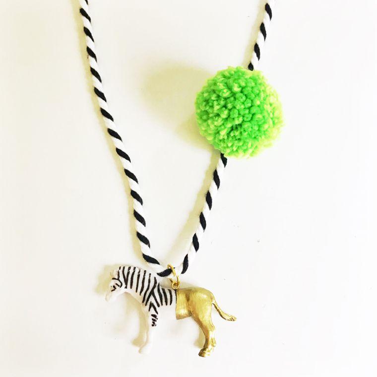 Zebra Pompom Necklace in Lime