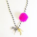 Zebra Pompom Necklace in Pink