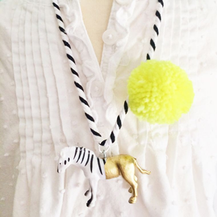 Zebra Pompom Necklace in Yellow