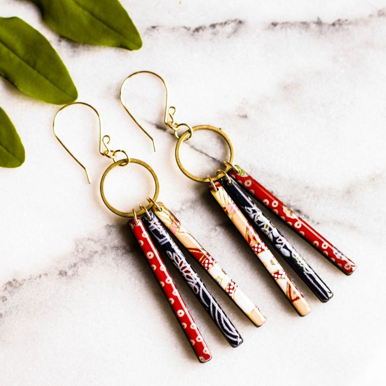 Collage Fringe Earrings - Red & Blue