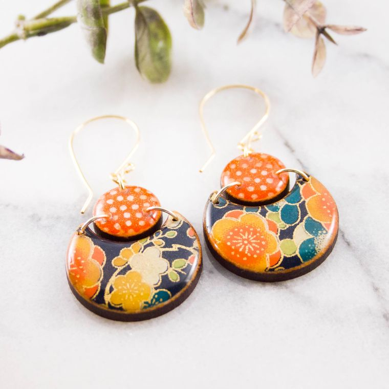Japanese Double Circle Earrings- Navy + Orange