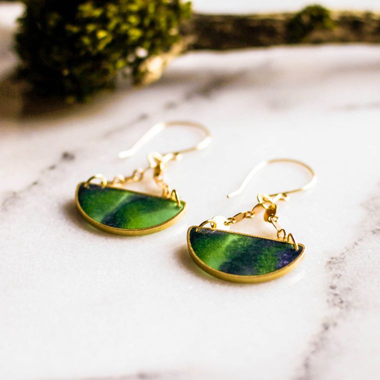 Mood Swings Brass Earrings - Borealis