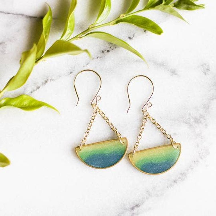Mood Swings Brass Earrings - Ocean