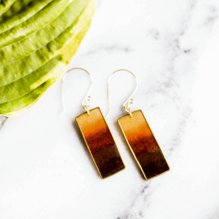 Autumn Honey Brass Rectangle Earrings