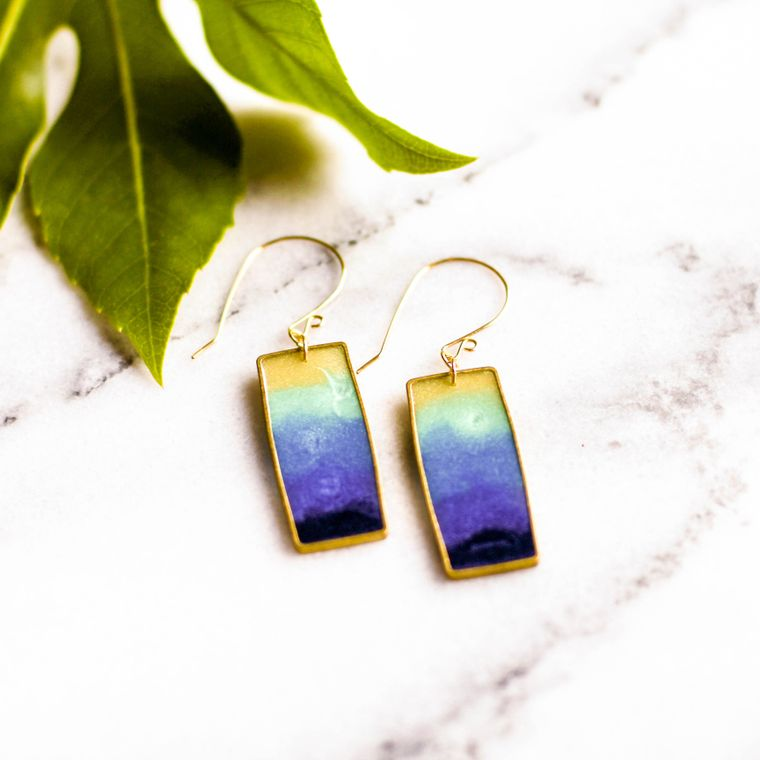 Lagoon Brass Rectangle Earrings